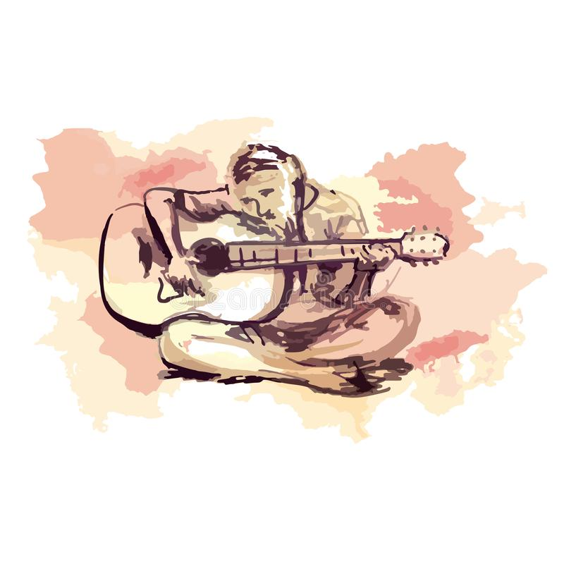 Girl playing the guitar, Watercolor sketch with black ink - Hand drawing vector illustration stock illustration