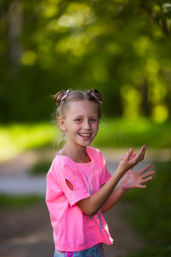 Girl Playing Homemade Toy Called Slime royalty free stock images