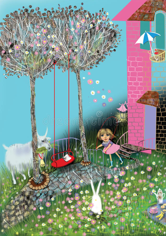 Girl playing jumprope in a beautiful flower filled garden stock illustration