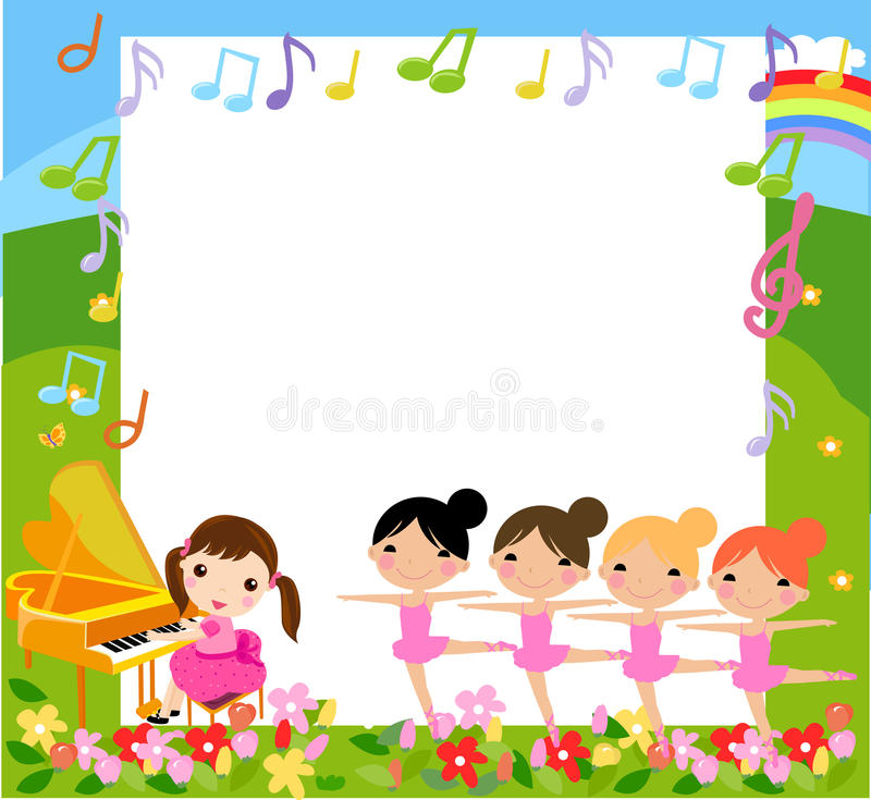 A girl playing piano and four girls dancing stock illustration