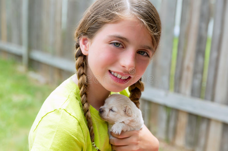 Girl playing with puppy chihuahua pet dog. At the backyard royalty free stock photos