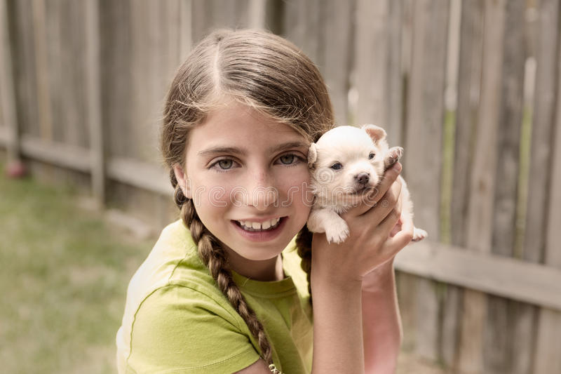 Girl playing with puppy chihuahua pet dog. At the backyard stock photography