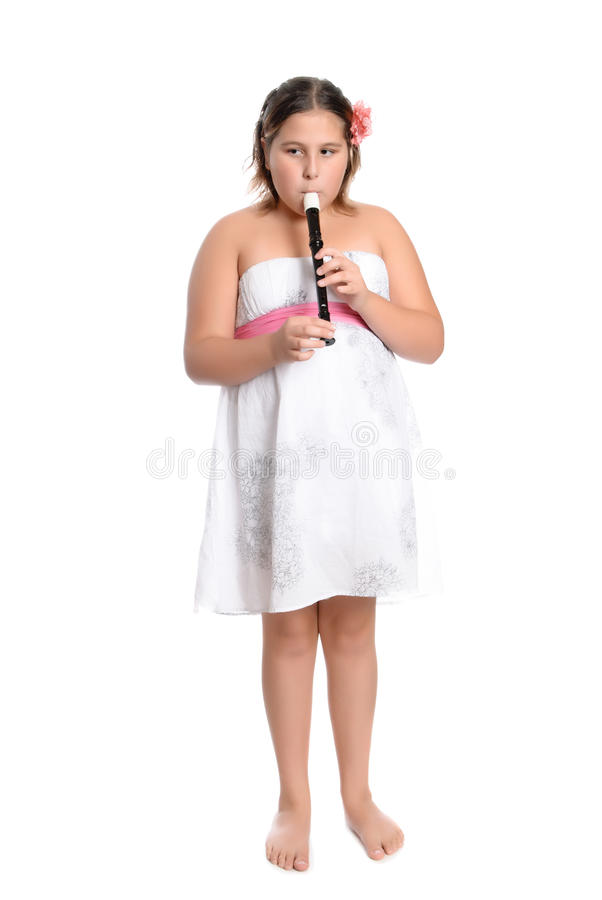 Girl Playing Recorder stock photography