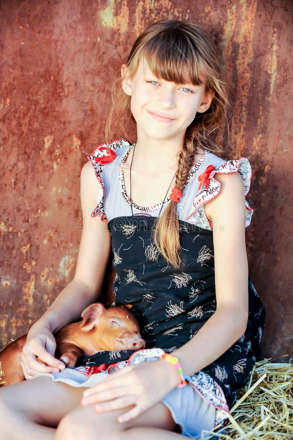 The girl is playing with red newborn pigs of the Duroc breed. The concept of caring and caring for animals.  stock photos