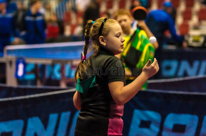 Girl playing table tennis royalty free stock photo