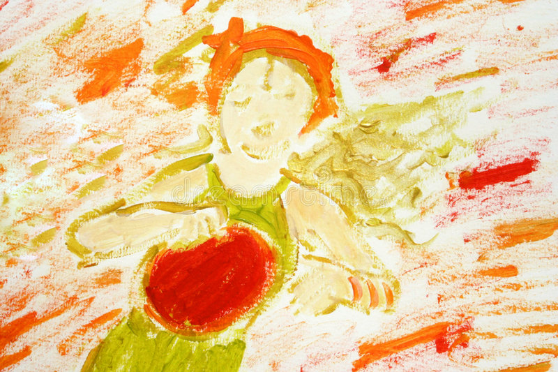 Download Girl Playing Tambourine (painted) Stock Photo - Image: 4081108