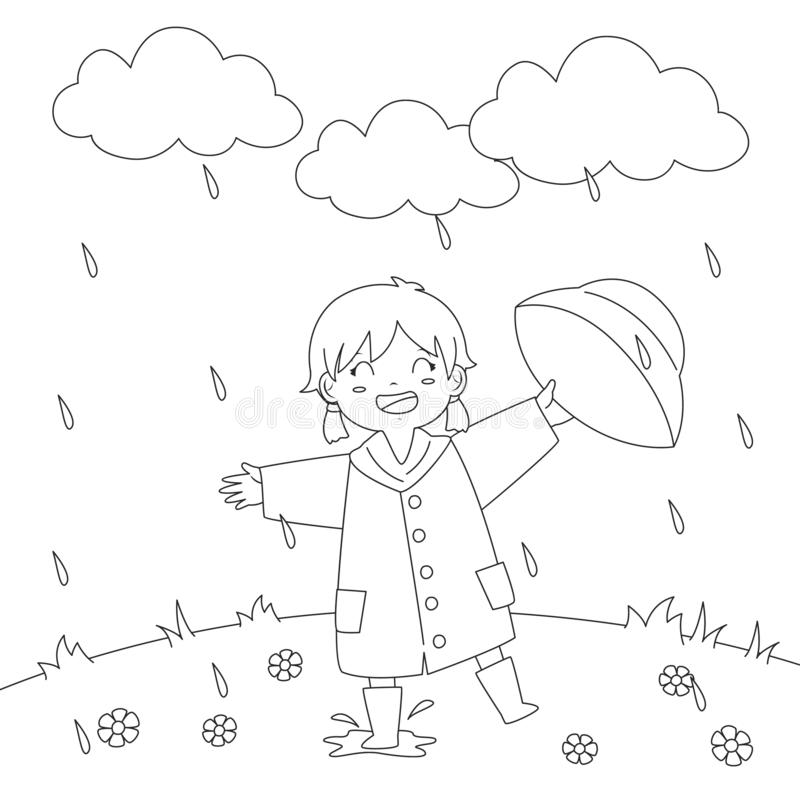 Girl Playing Under The Rain Coloring Page Vector Design stock illustration