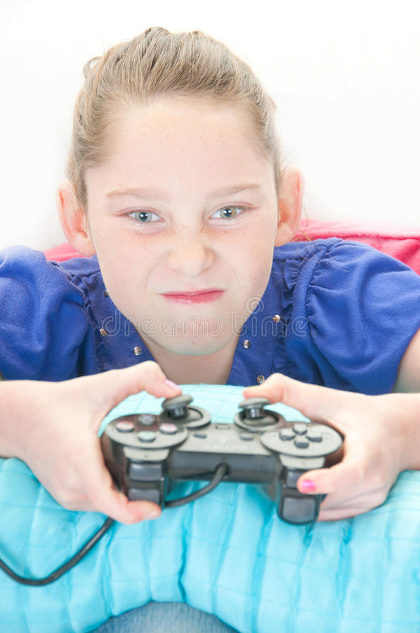Download Girl playing video game stock image. Image of upset, angry - 18178349