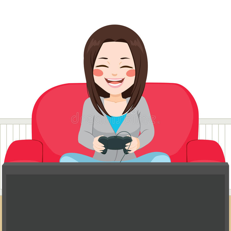 Girl Playing Video Game royalty free illustration