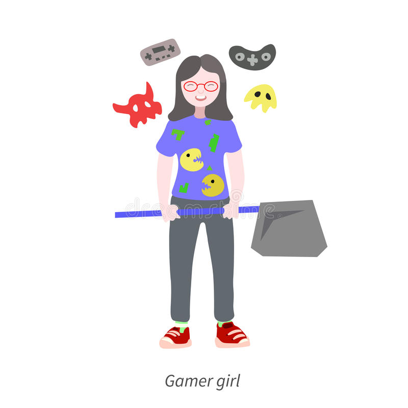 Girl Playing videogames stock photos