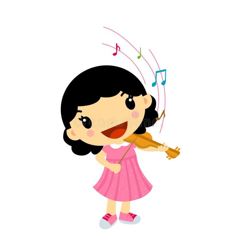 Girl Playing Violin royalty free illustration