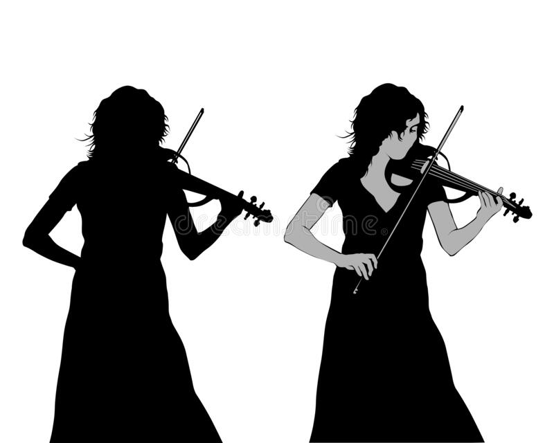 Girl playing violin. Young girl playing the violin at a concert. Isolated silhouette on a white background royalty free illustration