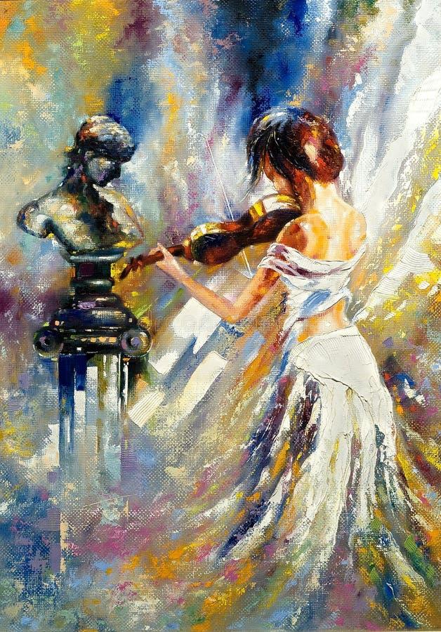 Girl playing a violin stock illustration