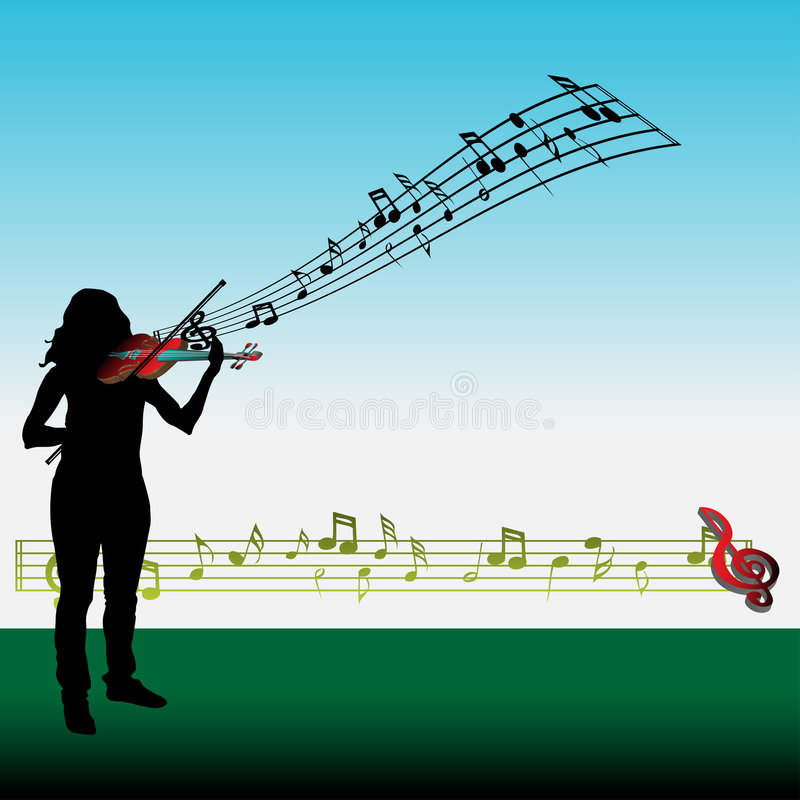 Girl playing the violin stock illustration