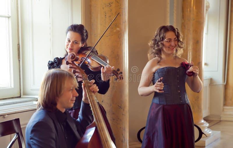 Girl playing violin, string ensemble rehearsal - - viola da gamba, castanets, baroque viola. Rehearsal ensemble of baroque music in the interiors of the palace royalty free stock photos