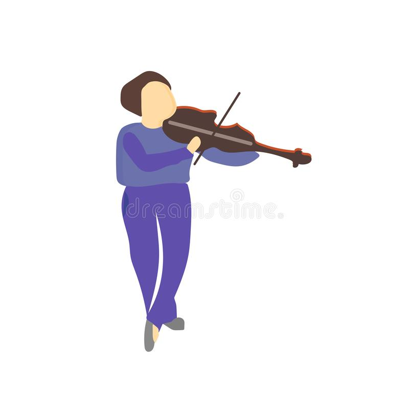 Girl playing violin vector vector sign and symbol isolated on white background, Girl playing violin vector logo concept vector illustration