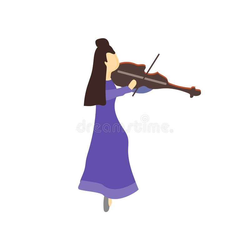 Girl playing violin vector vector sign and symbol isolated on white background, Girl playing violin vector logo concept royalty free illustration