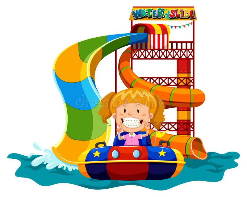 Girl playing on water slide stock illustration