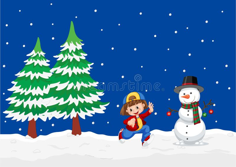 Girl playing at winter outdoor landscape. Illustration royalty free illustration