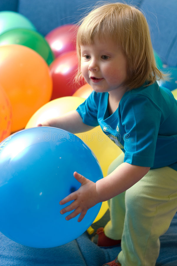 Free Girl Playing With Balloons Stock Images - 2019794
