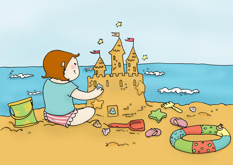 Girl plays on the beach. A girl plays on the beach in a sunny day. Digital colors vector illustration