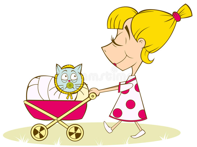 Download A girl plays in the mother stock vector. Image of drawing - 23871461