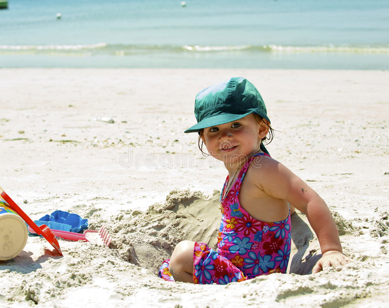 Download Girl plays on the sand stock photo. Image of washing, play - 8013006