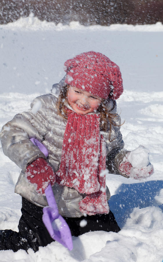 Download The girl plays on snow stock photo. Image of child, innocence - 18768856