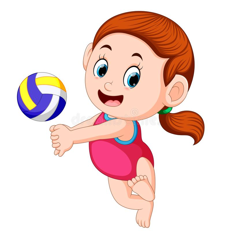 The girl plays the volley ball with the good posing. Illustration of the girl plays the volley ball with the good posing royalty free illustration