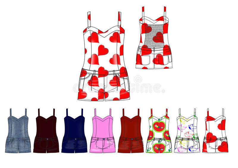 Girl playsuit in twill and denim fabric with motif print and solid design template stock illustration