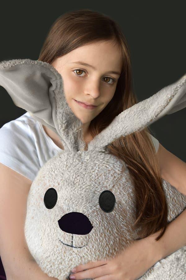 Download Girl and plush animal stock photo. Image of playing, gift - 92133524