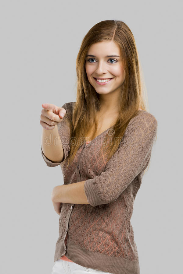 Girl pointing royalty free stock image