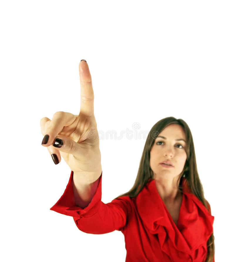 Girl With Pointing Something Isolated Royalty Free Stock Images