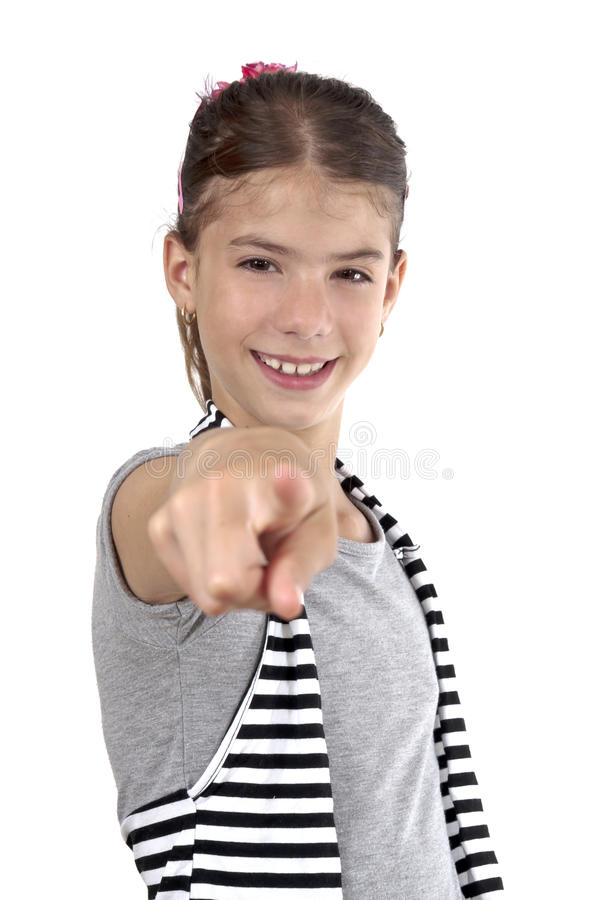 Download Girl Pointing On Studio Shot Stock Image - Image of brown, activity: 31732975