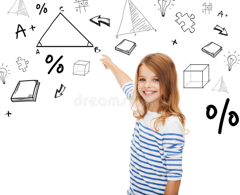 Girl pointing to triangle on virtual screen royalty free stock photos