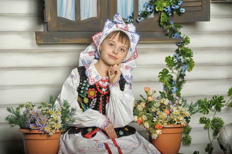 Girl in Polish national costume. Of Rzeszów stock image