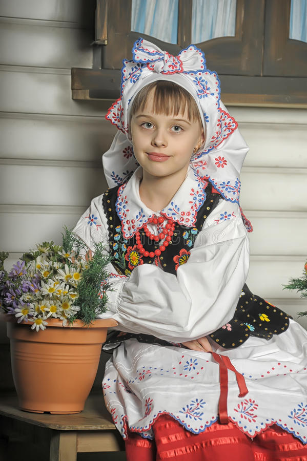 Girl in Polish national costume. Of Rzeszów stock photography