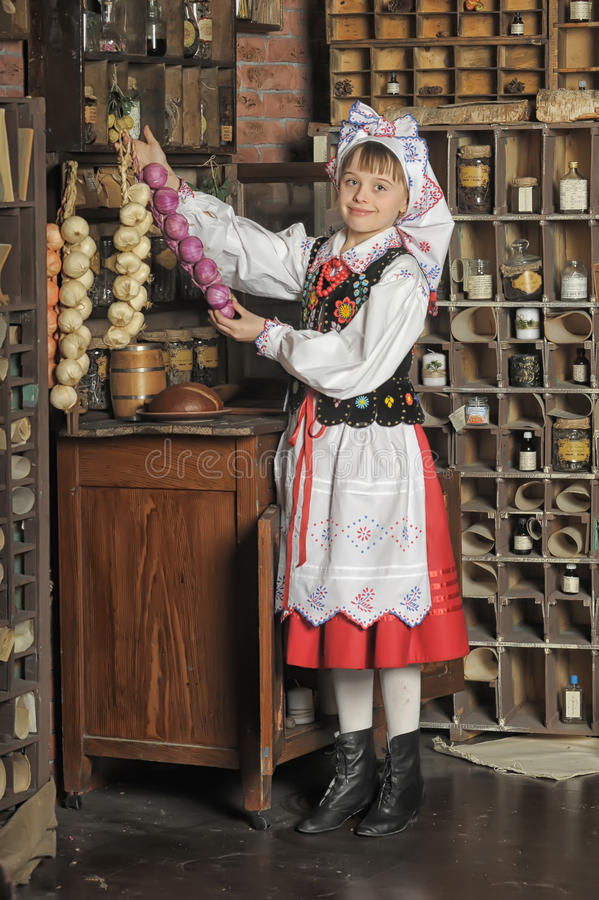 Girl in Polish national costume. Of Rzeszów royalty free stock images