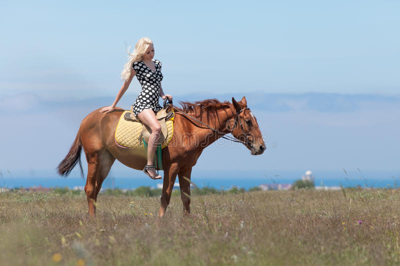 Girl in polka-dot dress rides on horse. Horsewoman. Young blonde woman in polka-dot dress rides on brown gelding royalty free stock photos