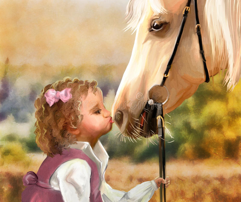 Girl with pony. Little girl kissing her pony. Digital hand drawing simulated oil paintng