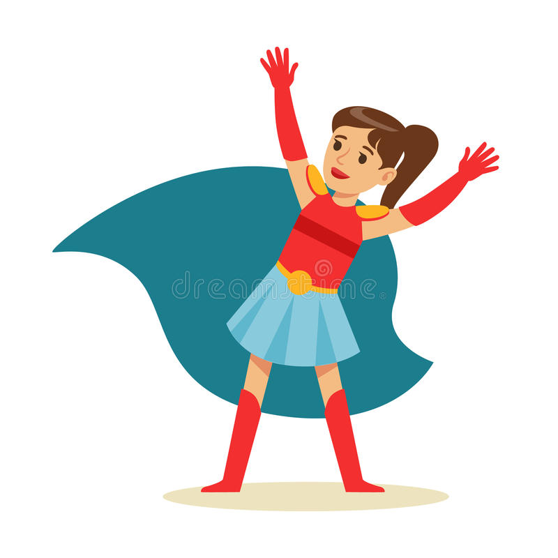 Girl With Ponytail Pretending To Have Super Powers Dressed In Superhero Costume With Blue Cape Smiling Character. Halloween Party Disguised Kid In Comics Hero stock illustration