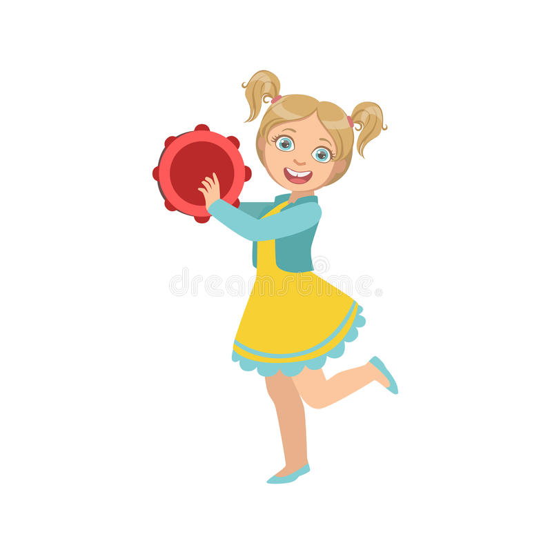 girl with ponytails playing tambourine stock vector illustration rh dreamstime com Music Notes Graphics Music Notes
