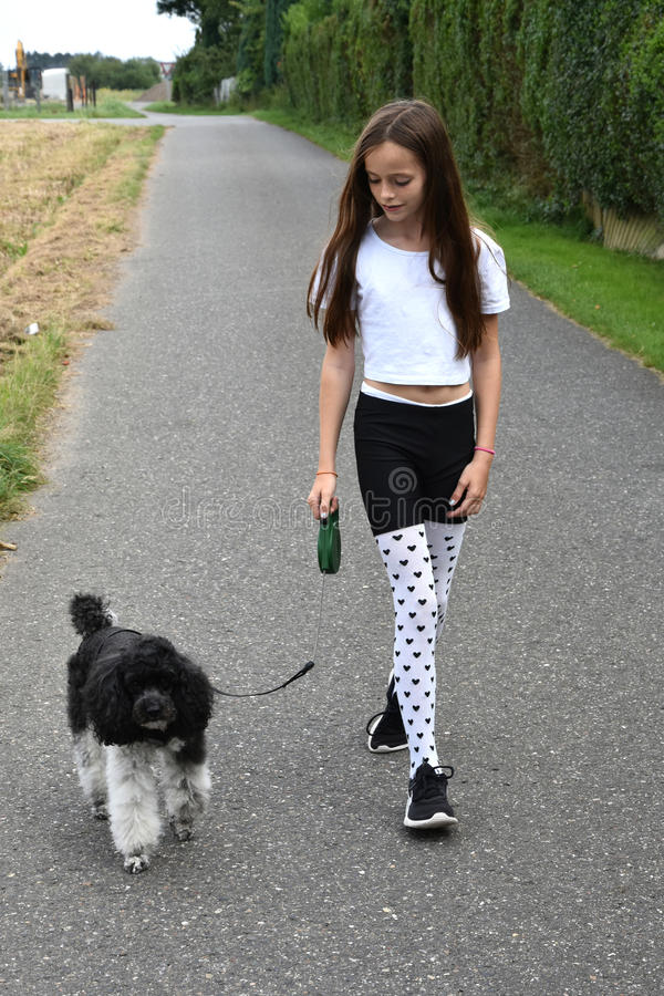 Girl and poodle dog. Teenage girl makes a walk with her toy poodle. She wears stockings with little hearts. Poodle and girl, black and white stock images