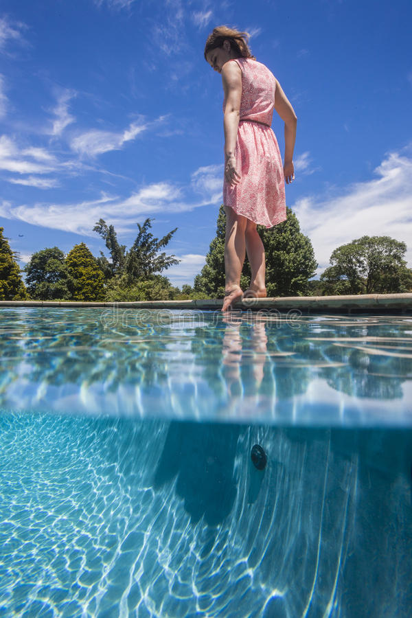 Download Girl Pool Waterline Test stock photo. Image of blue, water - 28328926