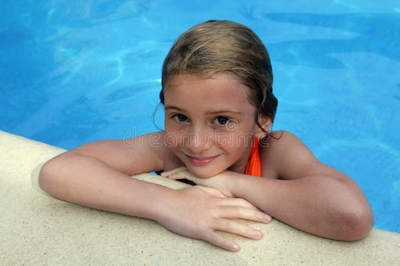 Download Girl at pools edge stock image. Image of blue, arms, smile - 17951643