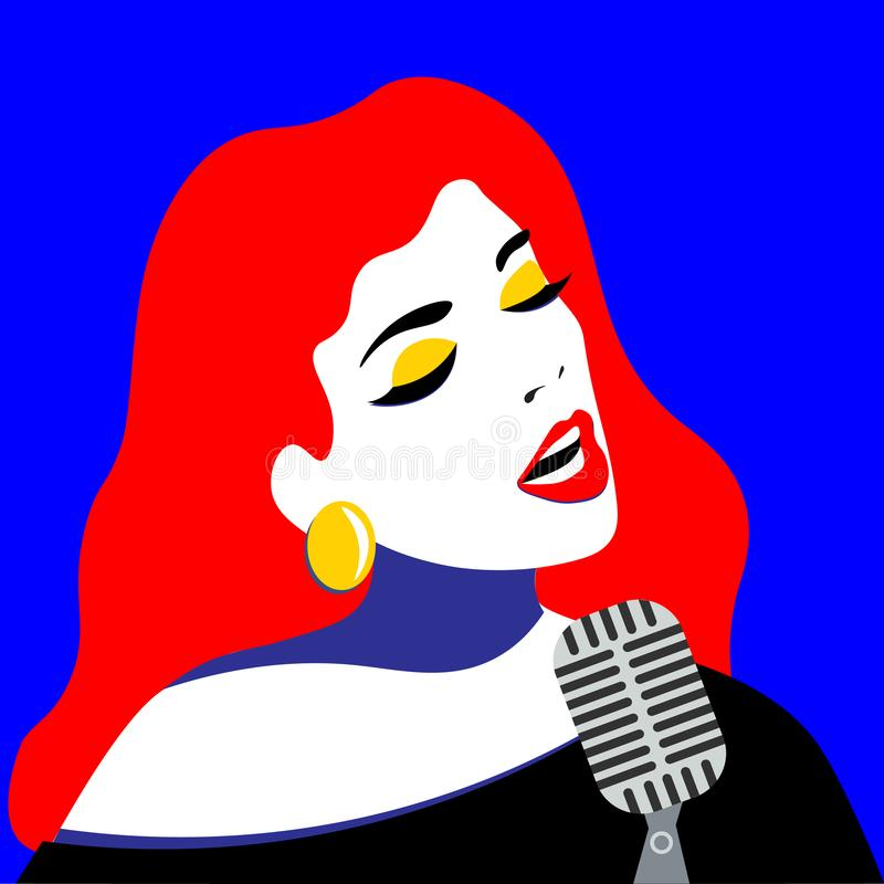 Girl with pop art style sings in blues style. Bright color illustration of a girl royalty free illustration