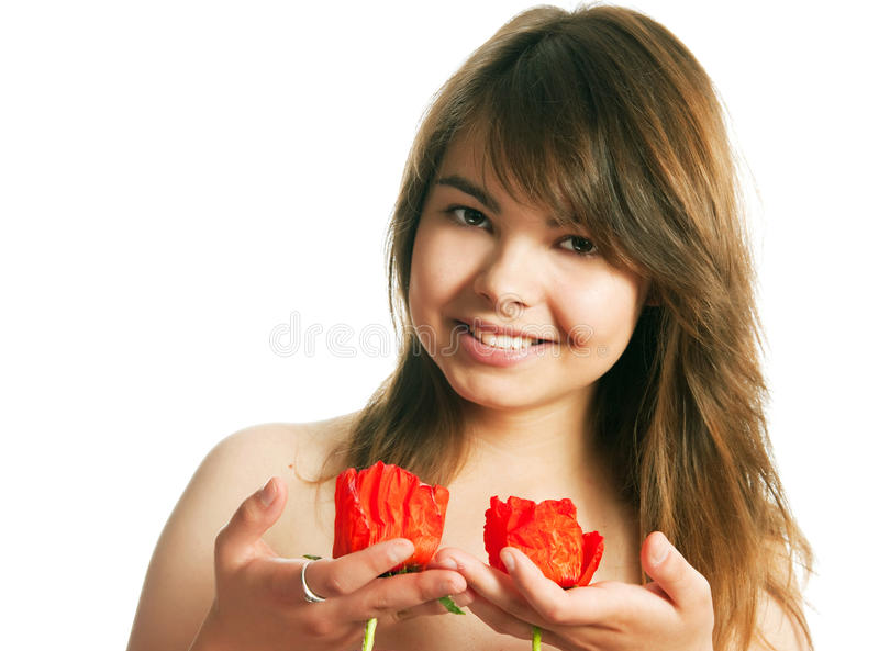 Download The girl with poppies stock image. Image of hand, beautiful - 28988175
