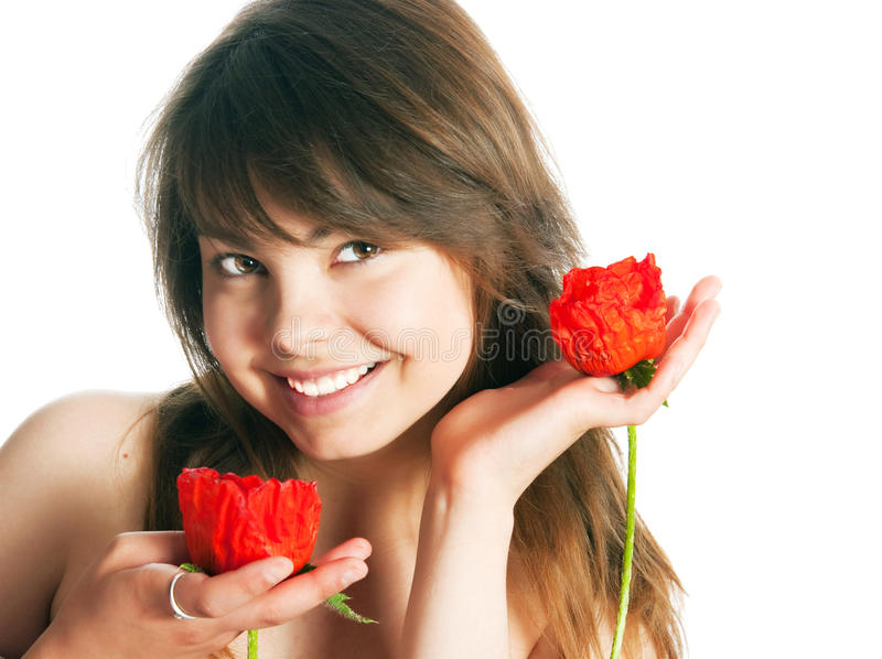 Download The girl with poppies stock image. Image of bruner, isolated - 28988195