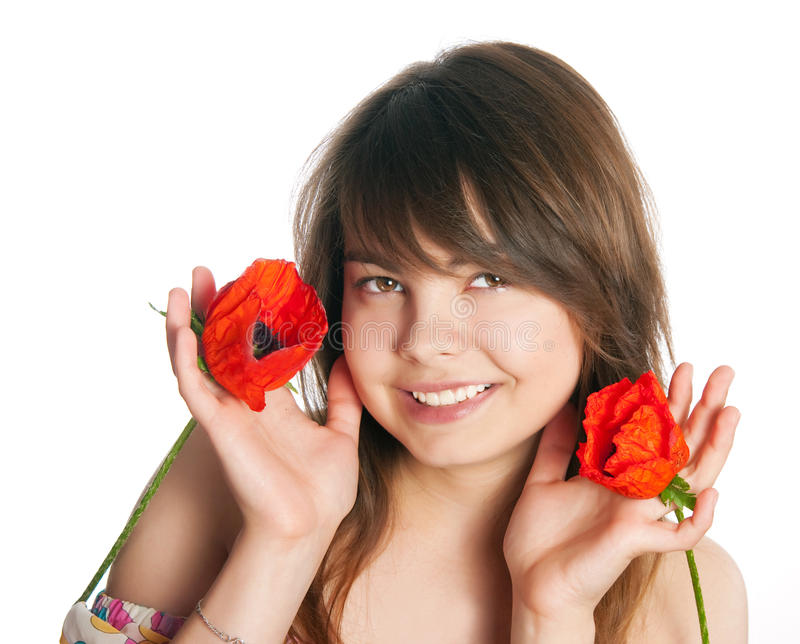 Download The girl with poppies stock image. Image of happy, hair - 28988221