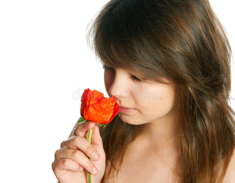 Download The Girl With Poppies Royalty Free Stock Photography - Image: 28988227